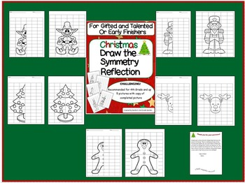 Christmas Symmetry Reflection Drawings for GT and Early Finishers
