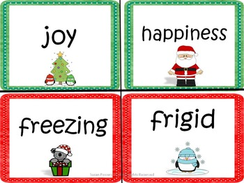 Christmas Synonyms Literacy Games and Craftivity