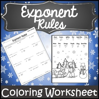 Exponent Rules Christmas {Christmas Exponents Activity} {Winter Algebra Activity