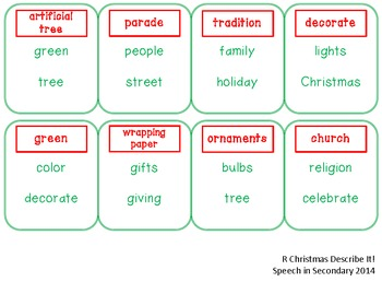 Christmas Describe It! for Articulation and Language