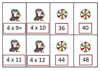 Christmas - Tag a Match - Multiplication Facts Game
