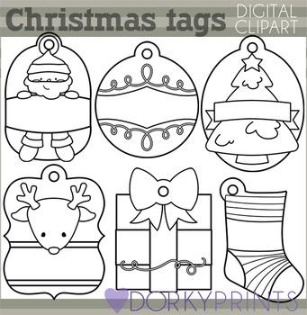 Christmas Tags Blackline Clip Art