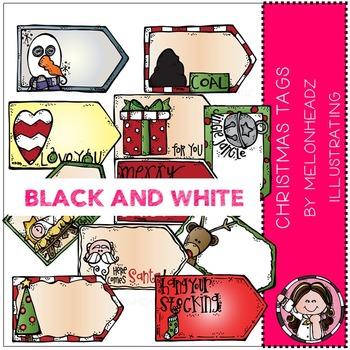 Melonheadz: Christmas Tags clip art - BLACK AND WHITE