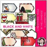 Christmas Tags clip art - BLACK AND WHITE- by Melonheadz