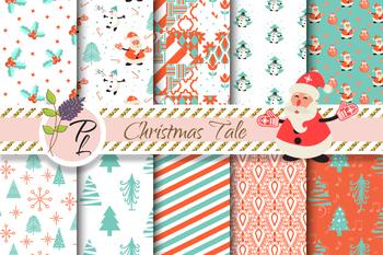 Christmas Tale Seamless Pattern Set. Digital paper pack.