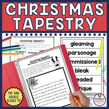 Christmas Tapestry is a great choice for the weeks before winter break. This 43 page Christmas Tapestry literacy unit includes many options for using Christmas Tapestry as a mentor text, in guided reading groups, or digitally for work stations.Skills addressed with the book include: prereading schema building, vocabulary, making comparisons, sequencing, summarizing, visualizing, questioning strategies (QAR/4 H),  question cards (for either centers or small group instruction) and post reading writing activities that can be used in conjunction with this book or other winter books. 43 pages total (20 PDF and 23 Google Slides TM)