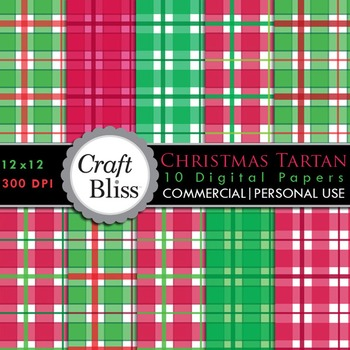Christmas Tartan Red & Green Plaid Digital Papers Commercial & Personal Use