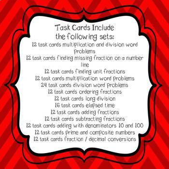 Christmas Task Card Bundle 4th Grade Common Core Aligned