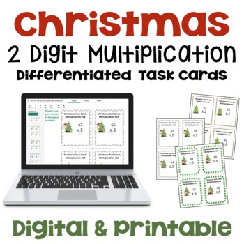 Christmas Task Cards: 2 digit by 1 digit Multiplication (Differentiated)
