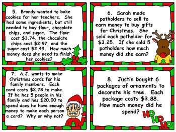 Christmas Task Cards:  Adding and Subtracting Decimals