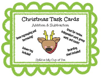 Christmas Task Cards - Addition and Subtraction