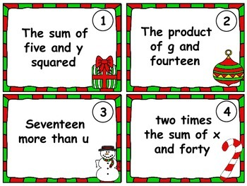 Christmas Expressions.Christmas Task Cards Algebraic Expressions