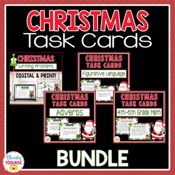 Christmas Task Cards Bundle-Adverbs, Math, Figurative Language, Writing Prompts