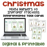 Christmas Converting Mixed Numbers to Improper Fractions Task Cards (3 Levels)