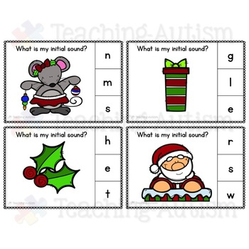 Christmas Task Cards, Initial Sounds