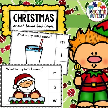 Christmas Task Cards Initial Sounds