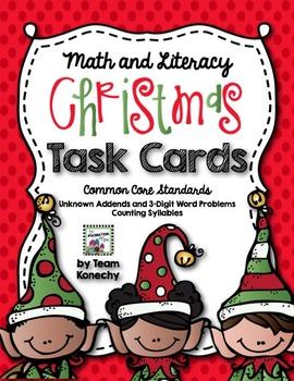 Christmas Task Cards - Math and Language Arts