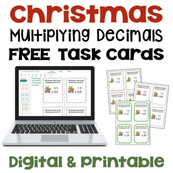 Christmas Multiplying Decimals Task Cards