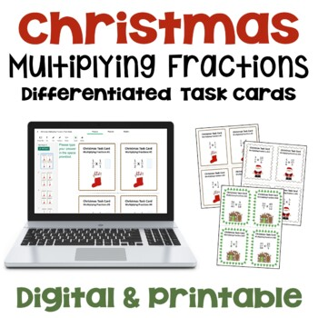Christmas Multiplying Fractions Task Cards (Differentiated with 3 Levels)
