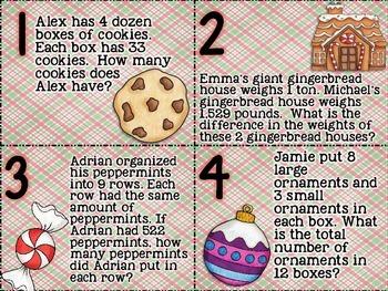 Christmas Task Cards Multistep Problem Solving