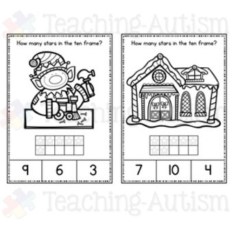 Christmas Task Cards Counting Ten Frames