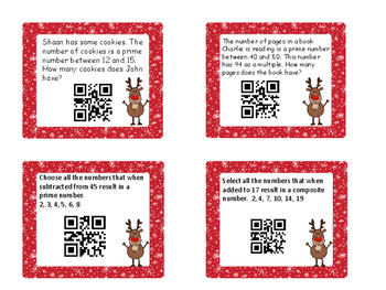 Christmas Task Cards Understanding Prime and  Composite Numbers