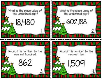Christmas Task Cards for 3rd Grade Math