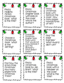 Christmas Task Cards for the Elementary Library