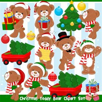 Christmas Teddy Bear Clipart Set