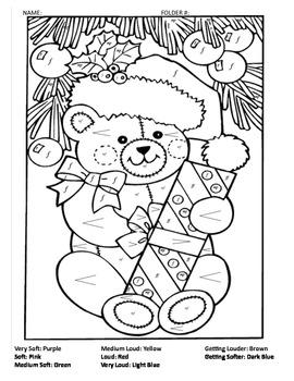 Christmas Teddy Bear Dynamics review coloring sheet