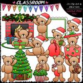 Christmas Teddy Bears - Clip Art & B&W Set