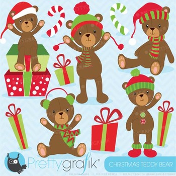 Christmas Teddy bear clipart commercial use, vector graphics - CL608