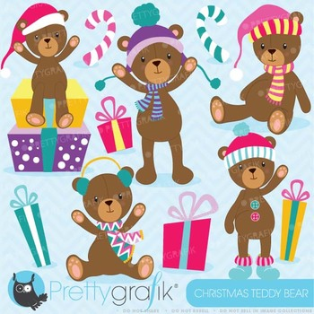Christmas Teddy bear clipart commercial use, vector graphics, - CL609