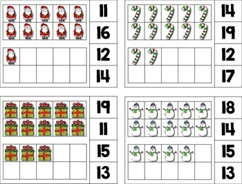 Christmas Teens --- Christmas Teen Number Math Center Games for Numbers 11-20