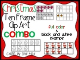 Christmas Ten Frame Clip Art ***COMBO*** - Common Core Math Commercial OK