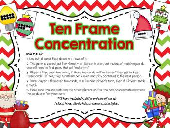 Christmas Ten Frame Concentration Game