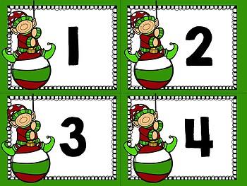 Christmas Ten Frame Flashcards 1-30