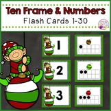 Christmas Ten Frame Flashcards 1-30