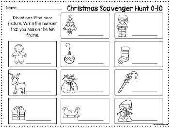 Christmas Ten Frame Scavenger Hunt