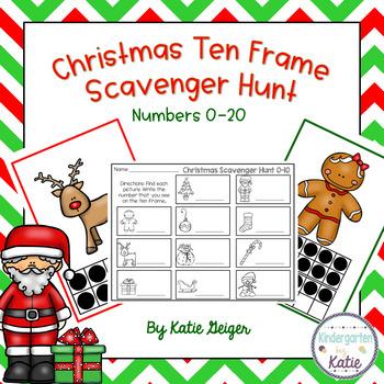 Christmas Ten Frame Scavenger Hunt by Kindergarten by Katie | TpT