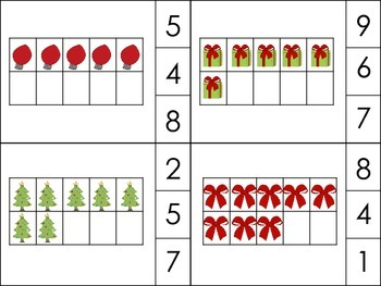 Christmas Ten Frame count and clip and Number Puzzles