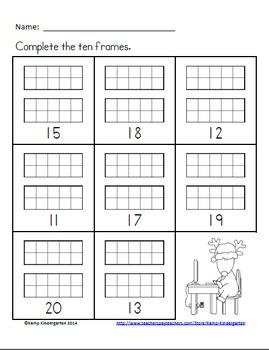 Christmas Ten Frames No Prep Printables (Quantities of 11 to 20)