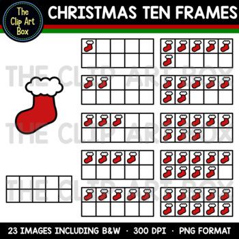 Christmas Ten Frames (Stocking) - Clip Art