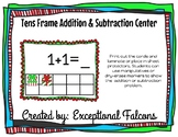 Christmas Tens Frame Addition and Subtraction Center