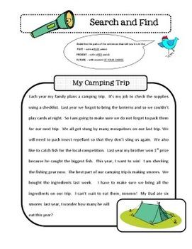 Christmas Tense Verbs - Literacy Center Activity plus Worksheets