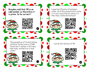 Christmas Test Prep Task Cards with QR Code 6 word problems