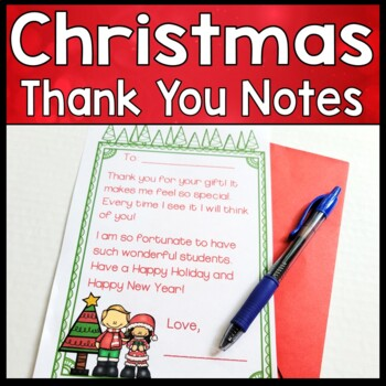 Thank You Notes Christmas Christmas Thank You Cards To Students
