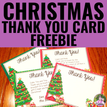 Christmas Thank You Note Card Editable Freebie By Mrs Beattie S