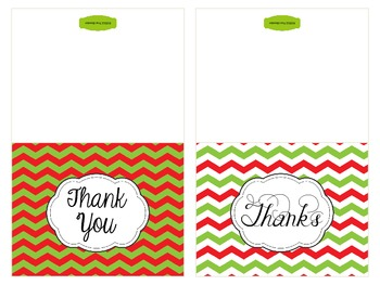 Christmas Thank You Note Cards {Freebie}