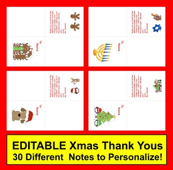 Christmas Thank You Notes or Cards : 28 EDITABLE Thank You Notes  + Rec'dg List